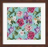 Floral Waltz Aqua Fine Art Print