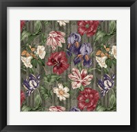 Floral Waltz Textured Scroll Stripe Slate Fine Art Print