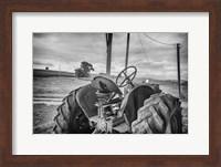 Tractor and Tobacco Field BW Fine Art Print
