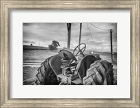 Tractor and Tobacco Field BW Fine Art Print