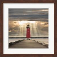 Manistique Lighthouse & Sunbeams, Manistique, Michigan '14 - Color Fine Art Print