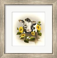 Cow & Sunflowers Fine Art Print