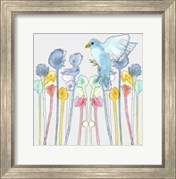Wildflowers With Bird Fine Art Print