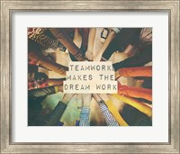 Teamwork Makes The Dream Work Stacking Hands Color Fine Art Print