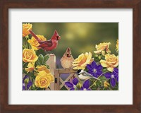 Yellow Roses and Songbirds Fine Art Print