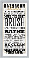 Bathroom Rules (Black on White) Fine Art Print