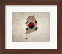 Map with Flag Overlay South Korea Fine Art Print