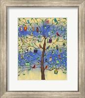 Bird and Bird Houses on Tree Fine Art Print