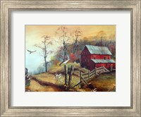 The Red Barn and The Hawk Fine Art Print