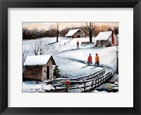 Old Springhouse at Christmas Fine Art Print