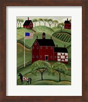 American Red Quilt House Fine Art Print