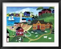 Sheep At Seaside School Fine Art Print