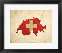 Map with Flag Overlay Switzerland Fine Art Print