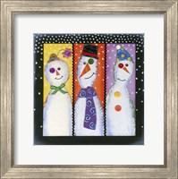 Three Tall Snowmen Fine Art Print