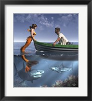 A Mermaid And Her Pets Fine Art Print