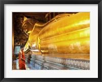 Praying the reclined Buddha, Wat Pho, Bangkok, Thailand Fine Art Print