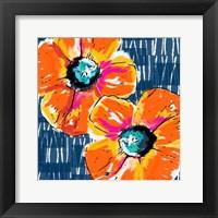 Orange Poppies on Blue Fine Art Print