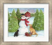 Snowman Dog And Cat Farm Horizontal Fine Art Print