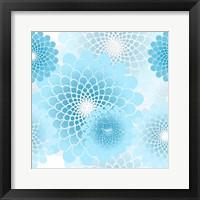 Spiral Flowers Pattern Baby Blue Fine Art Print