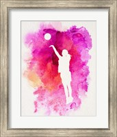 Basketball Girl Watercolor Silhouette Inverted Part IV Fine Art Print