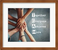 Together Everyone Achieves More - Stacking Hands Fine Art Print