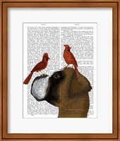 Boxer and Red Cardinals Fine Art Print
