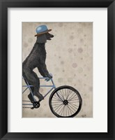 Poodle on Bicycle, Black Fine Art Print