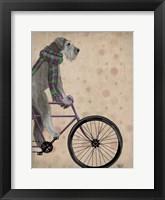 Schnauzer on Bicycle, Grey Fine Art Print