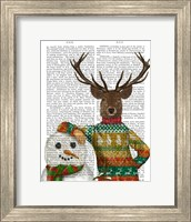 Deer in Christmas Sweater with Snowman Fine Art Print