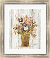 Wild Flowers in Vase II on Barn Board Fine Art Print