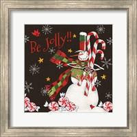 Sweet Snowmen II Black Fine Art Print