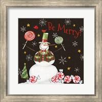 Sweet Snowmen IV Black Fine Art Print