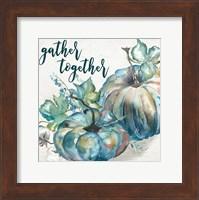 Blue Watercolor Harvest  Square Gather Together Fine Art Print