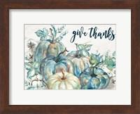 Blue Watercolor Harvest Pumpkin Landscape Give Thanks Fine Art Print