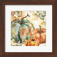 Watercolor Harvest Teal and Orange Pumpkins I Fine Art Print