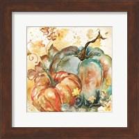 Watercolor Harvest Teal and Orange Pumpkins II Fine Art Print