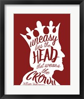 Uneasy Lies The Head Shakespeare - King White on Red Fine Art Print