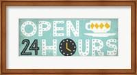 Retro Diner Open 24 Hours Panel Fine Art Print