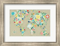 Floral World Tan Fine Art Print