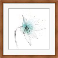 Teal Graphite Flower VIII Fine Art Print