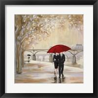 Romantic Paris III Red Umbrella Fine Art Print