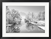 Winter landscape at Loisach, Germany (BW) Fine Art Print