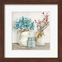Floral Composition with Mason Jars I Fine Art Print