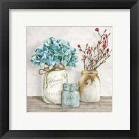 Floral Composition with Mason Jars I Fine Art Print
