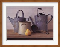 Watering Cans with Pear I Fine Art Print