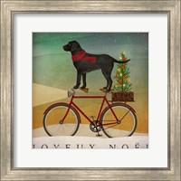 Black Lab on Bike Christmas Fine Art Print