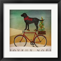 Black Lab on Bike Christmas Fine Art Print