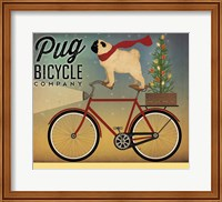 Pug on a Bike Christmas Fine Art Print