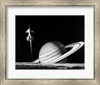 1960s Space Rocket Flying Past Saturn Fine Art Print
