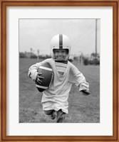 1950s Boy In Oversized Shirt And Helmet Fine Art Print
